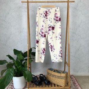 Pendleton Silk Linen White Floral Crop Pants